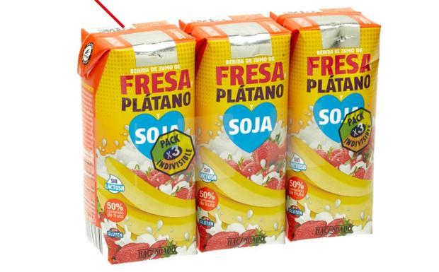 Image result for Bebida Fresa Plátano Soja Hacendado (Minibrick Pack 3 x 330 ml)