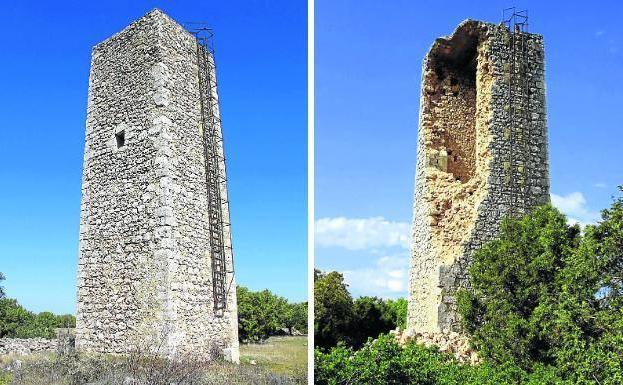 El Torreón de Greda antes y después del derrumbamiento. /El Norte