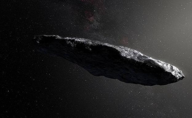 Recreación de la roca interestelar Oumuamua, que ha dado pie a teorías como la de Loeb, que sostiene que es un objeto artificial y la prueba de vida inteligente fuera de la Tierra./RC